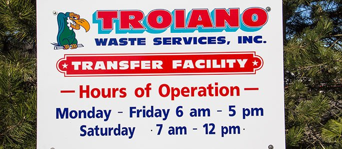 Troiano Waste Transfer Station Sign