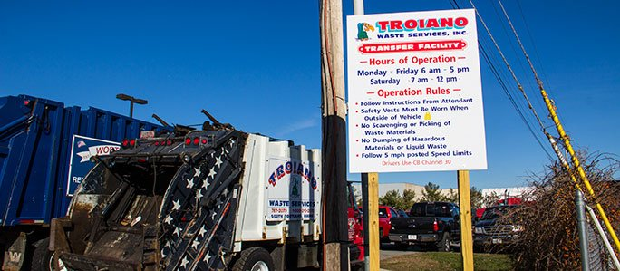 Troiano Waste Services Transfer Facility Entrance Sign
