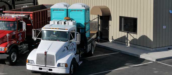 Truck carrying Royal Flush portable toilets in South Portland, Maine